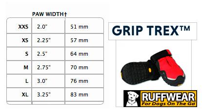 Consulte la tabla de medidas Ruffwear GripTrex™ Boots | Best for Pets